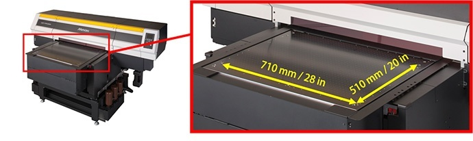 print area to 710 × 510 mm (28 × 20 in)
